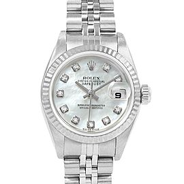 Rolex Datejust MOP Diamond Dial Steel White Gold Ladies Watch 79174