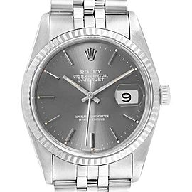 Rolex Datejust 36 Steel White Gold Grey Dial Mens Watch 16234