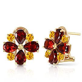 4.85 CTW 14K Solid Gold French Clips Earrings Garnet Citrine