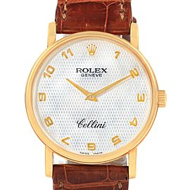 Rolex Cellini Classic Yellow Gold MOP Dial Black Strap Watch 5115