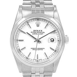 Rolex Datejust White Dial Jubilee Bracelet Steel Mens Watch 16200