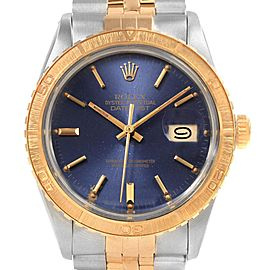 Rolex Datejust Turnograph Mens Steel Yellow Gold Blue Dial Watch 16253