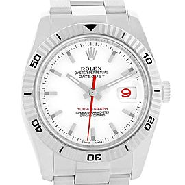 Rolex Datejust Turnograph White Dial Mens Watch 116264 Box Papers