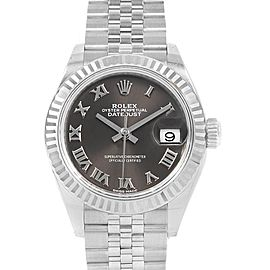 Rolex Datejust 28 Steel White Gold Ladies Watch 279174 Box Card