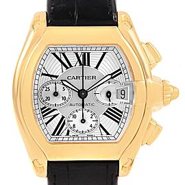 Cartier Roadster Chronograph Yellow Gold Black Strap Watch W62021Y3