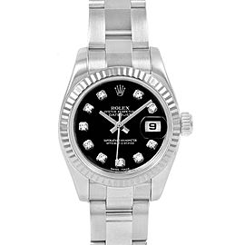Rolex Datejust Steel White Gold Black Diamond Dial Ladies Watch 179174