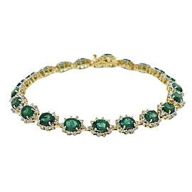 14KT Yellow Gold Emerald and Diamond bracelet