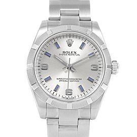 Rolex Midsize 31 Silver Dial Blue Hour Markers Steel Ladies Watch 177210