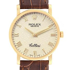 Rolex Cellini Classic Yellow Gold Brown Strap Mens Watch 5115