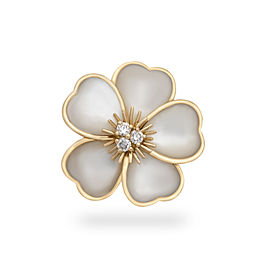 Van Cleef & Arples 18K Yellow Gold Diamond & Mother of Pearl Floral Ring
