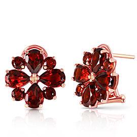 4.85 CTW 14K Solid Rose Gold Flower Garnet Clip Earrings
