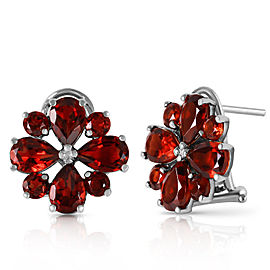 4.85 CTW 14K Solid White Gold Sultry Touch Garnet Earrings