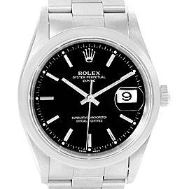 Rolex Date Black Dial Oyster Bracelt Steel Mens Watch 15200
