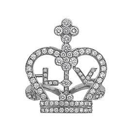 Louis Vuitton 18K White Gold Diamond LV Crown Ring