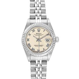 Rolex Datejust 26 Steel White Gold Ivory Roman Dial Ladies Watch 69174