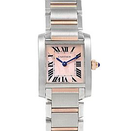 Cartier Tank Francaise Steel Rose Pink Gold MOP Ladies Watch W51027Q4