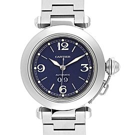 Cartier Pasha C 35 Blue Dial Automatic Steel Mens Watch W31047M7