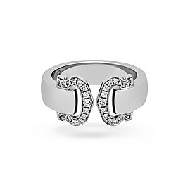 Cartier 18K White Gold Double C Logo Diamond Ring Size: 6