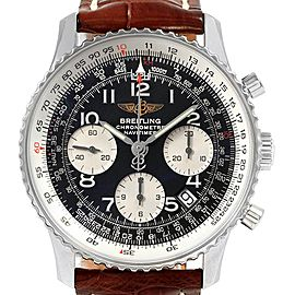 Breitling Navitimer Brown Strap Chronograph Steel Mens Watch A23322