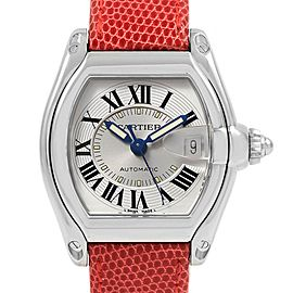 Cartier Roadster Mens Steel Red Strap Large Watch W62000V3