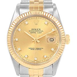 Rolex Datejust 36mm Steel Yellow Gold Diamond Dial Mens Watch 16013