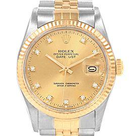 Rolex Datejust 36mm Steel Yellow Gold Diamond Dial Mens Watch 16013
