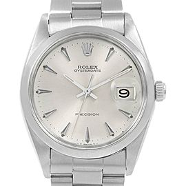 Rolex OysterDate Precision Silver Dial Steel Vintage Mens Watch 6694