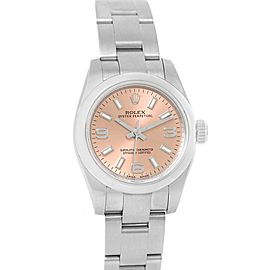 Rolex Nondate Salmon Dial Domed Bezel Ladies Watch 176200 Box Card
