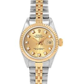 Rolex Datejust Yellow Gold Steel Diamond Dial Ladies Watch 69173