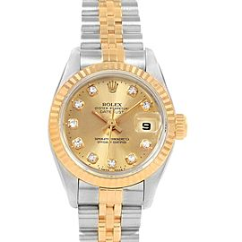 Rolex Datejust 26 Steel Yellow Gold Diamond Dial Ladies Watch 69173