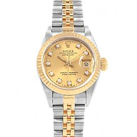 Rolex Datejust Steel Yellow Gold Diamond Automatic Ladies Watch 69173