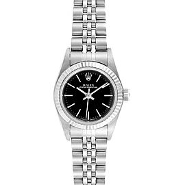 Rolex Non-Date Steel 18k White Gold Black Dial Ladies Watch 67194