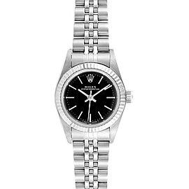 Rolex Non-Date Steel 18k White Gold Black Dial Ladies Watch 67194