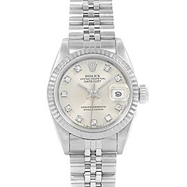 Rolex Datejust Ladies Steel White Gold Silver Diamond Dial Watch 69174