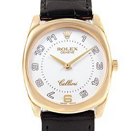 Rolex Cellini Danaos Yellow Gold Black Strap Mens Watch 4233