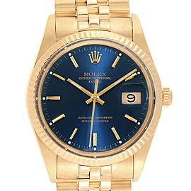 Rolex Date Mens 14K Yellow Gold Blue Dial Vintage Mens Watch 15037