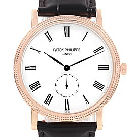 Patek Philippe Calatrava Rose Gold Enamel Dial Mens Watch 5116