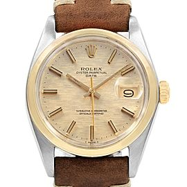 Rolex Date Silver Brick Dial Brown Strap Steel Vintage Mens Watch 1500