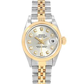 Rolex Datejust Steel Yellow Gold Diamond Ladies Watch 79163 Box Papers