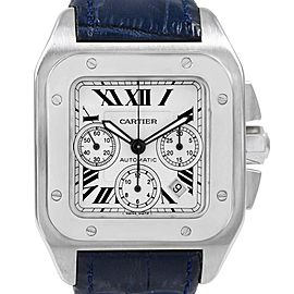 Cartier Santos 100 X-Large Silver Dial Chronograph Watch W20090X8