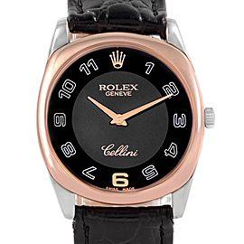 Rolex Cellini Danaos White Rose Gold Black Strap Mens Watch 4233
