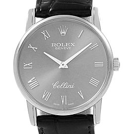 Rolex Cellini Classic Slate Dial 18k White Gold Mens Watch 5116