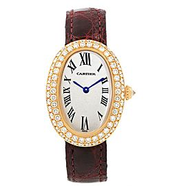 Cartier Baignoire Burgundy Strap Yellow Gold Diamond Ladies Watch 1954