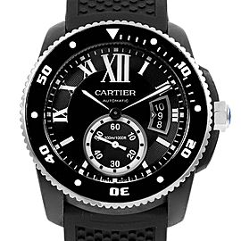 Cartier Calibre Divers Black Rubber Steel Mens Watch W7100056 Box Papers