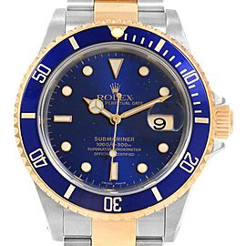Rolex Submariner Blue Dial and Bezel Steel Gold Watch 16613 Box Papers