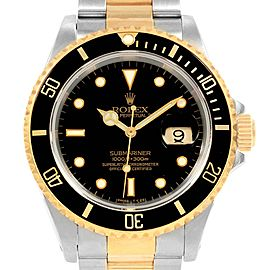 Rolex Submariner 40 mm Two Tone Steel Yellow Gold Mens Watch 16613