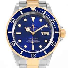 Rolex Submariner 40 Blue Dial Bezel Steel Yellow Gold Gents Watch 16613