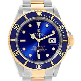 Rolex Submariner 40mm Blue Dial Steel Yellow Gold Mens Watch 16613