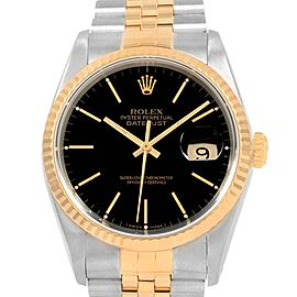 Rolex Datejust 36 Steel Yellow Gold Black Dial Mens Watch 16233
