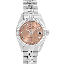 Rolex Datejust Steel White Gold Salmon Roman Dial Ladies Watch 79174